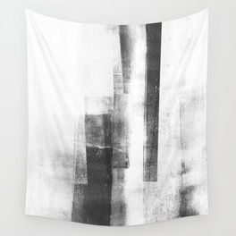 "Black and White Minimalist Geometric Abstract Painting ""Structure 3"" Wall Tapestry"