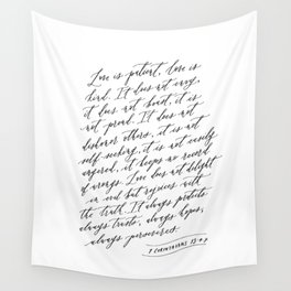 Love is Patient Love is Kind - 1 Corinthians 13 Wall Tapestry