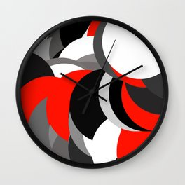 black white grey red geometric digital art Wall Clock