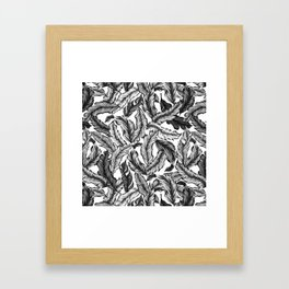 Jugle Leaf Monochrome Framed Art Print