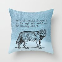 literary Throw Pillows featuring White Fang - Jack London - Literary Art by pithyPENNY
