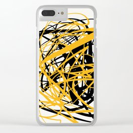Zen abstract art in yellow and black Clear iPhone Case