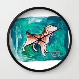 Beagle Dog Painting on Emerald Green Wall Clock