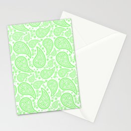 Paisley (Light Green & White Pattern) Stationery Cards