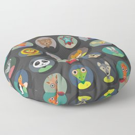 Set of animals faces circle icons set in Trendy Flat Style. zoo Floor Pillow