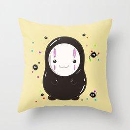 Spirited Away No Face Kawaii With Soot Sprites Throw Pillow