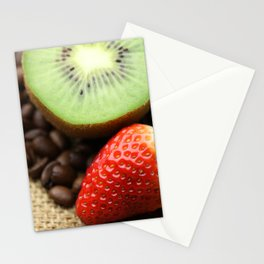 Coffee beans Kivi Strawberry Stationery Cards