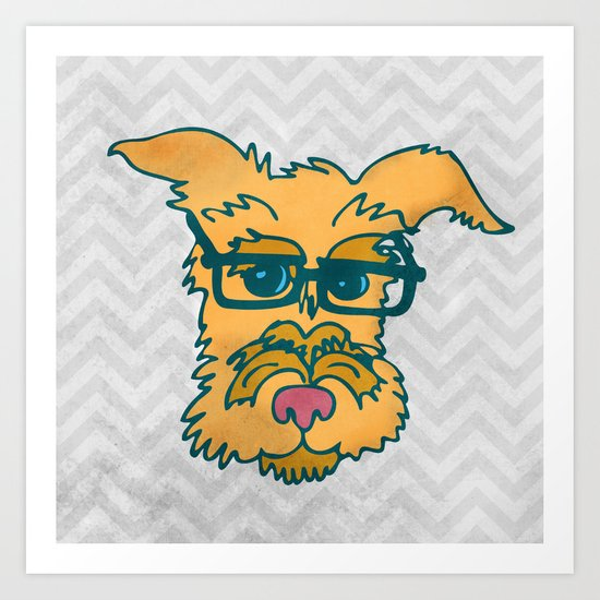 Mack The Cool Nerd Terrier Dog Art Print