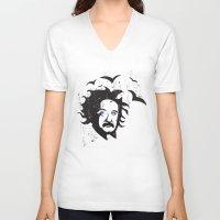 einstein V-neck T-shirts featuring Einstein by KaytiDesigns