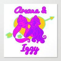 ariana grande Canvas Prints featuring Ariana Grande Ft. Iggy Azalea #2 by Glopesfirestar