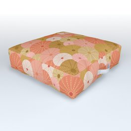 Sea Urchins in Coral + Gold Outdoor Floor Cushion