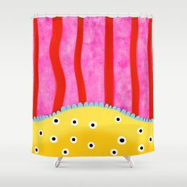 Vertical lines red pink poka dots yellow Shower Curtain