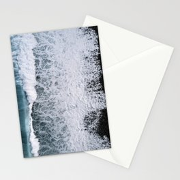 Aerial of a Black Sand Beach with Waves - Oceanscape Stationery Cards