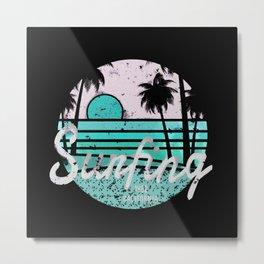 Surfing Cali Light Blue Metal Print