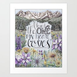 Mountain Art - I found the one my Heart Loves - Song of Solomon - Breckenridge - Colored Pencil Art Print