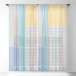 Yellow, Purple, Blue Checkered Gingham Patchwork Color Canvas Sheer Curtain