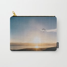 Sunset Paragliding over beach and mountains - Landscape Photography #Society6 Carry-All Pouch