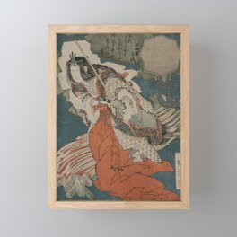 Uzume no Mikoto Dancing Beside a Fire (From the Series The Spring Cave) by Totoya Hokkei Framed Mini Art Print