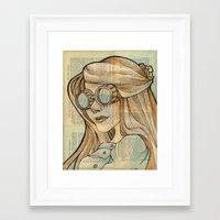hallion Framed Art Prints featuring Iron Woman 1 by Karen Hallion Illustrations