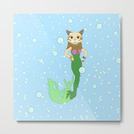 Cat Fish Mermaid Metal Print