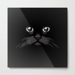The Dark Cat Face Metal Print