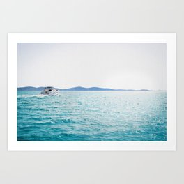 Boat And Turquoise Ocean Art Print