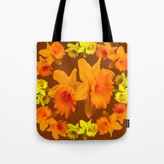 YELLOW SPRING DAFFODILS & COFFEE BROWN COLOR ART Tote Bag