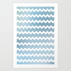 Blue Water Chevron Art Print