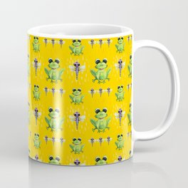 Frogs & Dragonfly Pattern Coffee Mug
