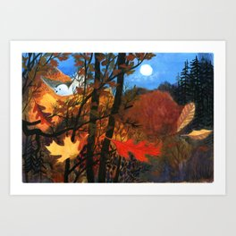 """""""Owl Sees Owl"""" Red and Yellow Leaves Art Print"""