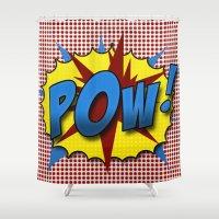 lichtenstein Shower Curtains featuring Pop Art Pow in comic Lichtenstein style by Suzanne Barber