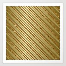 Gold Glitter Stripes Art Print