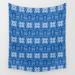 Scandinavian blue, white ornament. Wall Tapestry