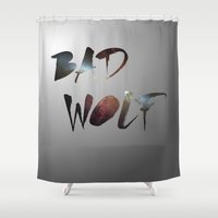 "dr who Shower Curtains featuring Dr. Who - ""Bad Wolf"" by Noal's Corner"