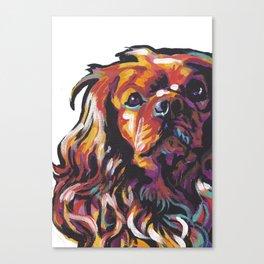 Ruby Cavalier King Charles Spaniel Dog Portrait Pop Art painting by Lea Canvas Print
