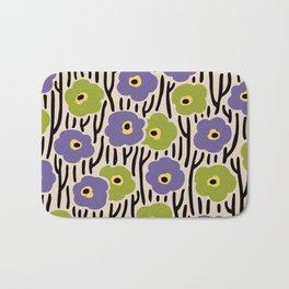 Mid Century Modern Wild Flowers Pattern Purple and Green Bath Mat