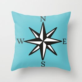 Compass Rose NOSW (Two-Color) Throw Pillow