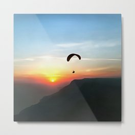 Sunset Paraglide Metal Print