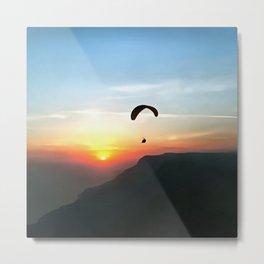 Sunset Paraglide Metal Print