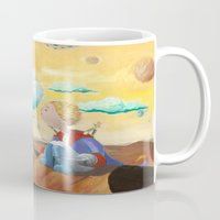 the little prince Mugs featuring Little Prince with sunflower by Fabio Marascio