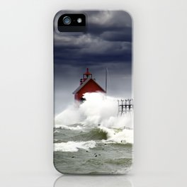 Storm at the Grand Haven Lighthouse in Michigan iPhone Case