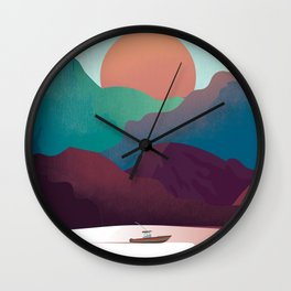 Rocky Mountains travel poster Wall Clock