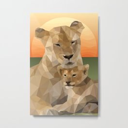 Sunset Lions Metal Print