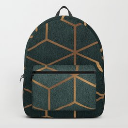 Dark Teal and Gold - Geometric Textured Gradient Cube Design Backpack