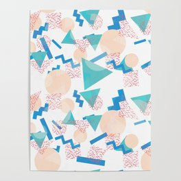 90's Pastel Geometric Pattern Poster