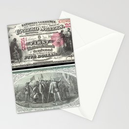 1875 Series U.S. Federal Reserve Five Dollar Bank of Deadwood - Christopher Columbus in Sight of Lan Stationery Cards