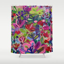 Once upon a wish - Intuitive flower painting - Mixed media Shower Curtain