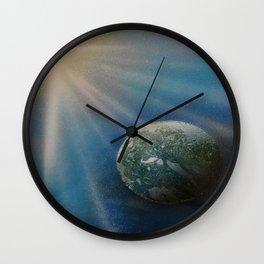 Sun Cross Earth Space Spray Paint Wall Clock