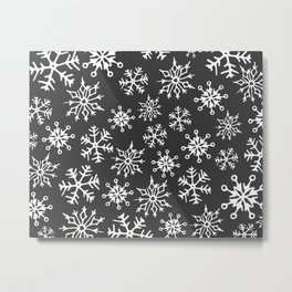 Snowflakes Pattern (Dark Gray) Metal Print