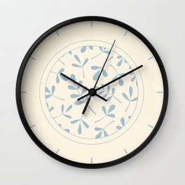 Assorted Leaf Silhouettes Blue on Cream Wall Clock